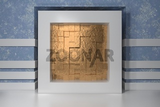 Minimalism, mock up poster, 3d illutration interior. White frame in a niche in the blue plastered wall filled with gold chaotic shifted boxes blocks