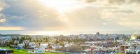 Paphos cityscape panorama sunbeam