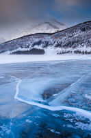 A frozen lake in the Rocky Mountains of Canada