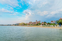Panoramic view of the  Sunny Beach on the Black Sea coast of Bulgaria