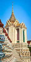 Beautiful closeup view of War Arun. Bangkok, Thailand. Vertical panorama