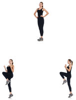 Young woman doing exercises isolated on white