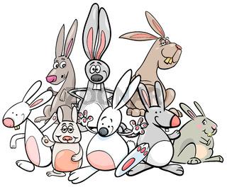 cartoon rabbits animal characters group