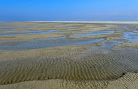Wadden sea sand shaped by wind and tidal currents, Schleswig-Holstein, Germany