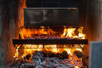 Domestic smokehouse with open fire