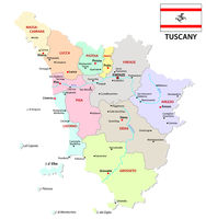 tuscany administrative and political map with flag