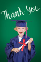 Young Caucasian Boy In Graduation Cap and Gown Against Green Chalkboard Background With Thank You