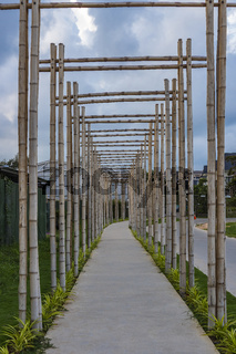A pathway with bamboo gates in Phu Quoc