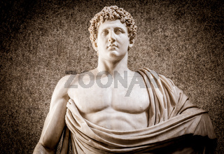 Marble statue with naked sensual chest