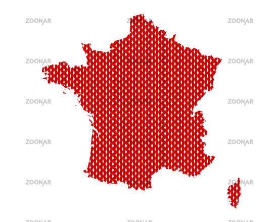 Karte von Frankreich in rechten Maschen - Plain map of France
