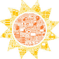 Sun Collage Icon for BigData and Computing