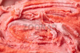 Textur von Erdbeereis von oben
