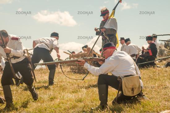 Reconstruction of the battle. The Battle of Shipka Peak. Shipka battlefield in Russo-Turkish War (18