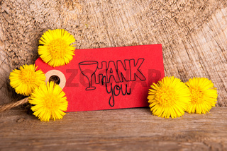 Red Label, Dandelion, Calligraphy Thank You, Wooden Background