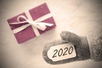 Pink Gift, Glove, Text 2020, Instagram Filter, Snow Background