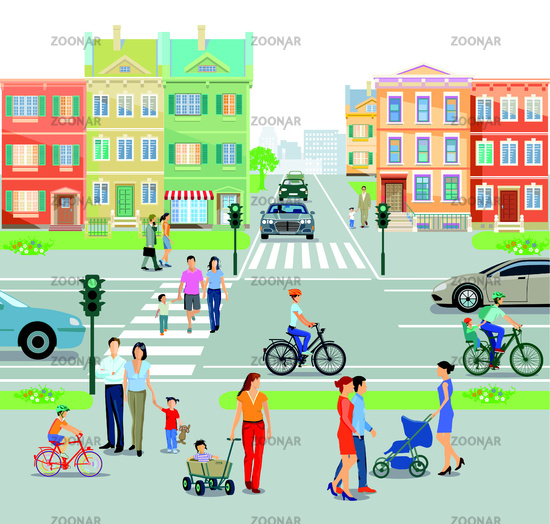 City with pedestrian crossing traffic light, and road junction, illustration