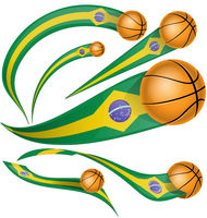 brazil flag element with basketball