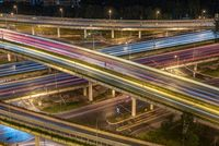 Large interchange aerial view at night in Chengdu