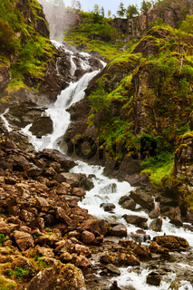 Waterfall Laatefossen in Hardanger Norway