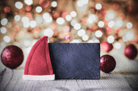 Plate, Copy Space, Santa Hat, Purple Ball, Sparkling Background