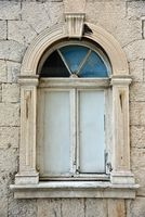 Old window of the city hall trogir croatia