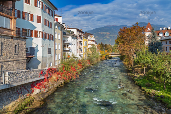 Rienz river in old town of Bruneck, South Tyrol