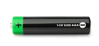 Side view of black  AAA type battery