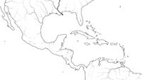 World Map of CENTRAL AMERICA and CARIBBEAN REGION: Mexico, Caribbean Islands, Caribbean basin. (Geographic chart).