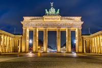 The illuminated Brandenburg Gate in Berlin at night