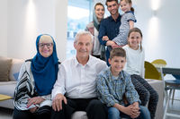 portrait of happy modern muslim family