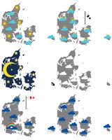 Karten von Dänemark mit verschiedenen Wettersymbolen - Maps of Denmark with various weather symbols