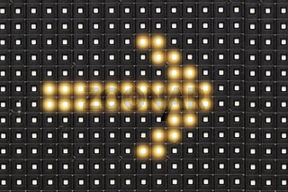 Dots matrix led diplay panel with illuminated symbol of arrow