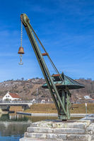 Historic crane at Old Port of the Ludwig Danube Main Canal in Kelheim