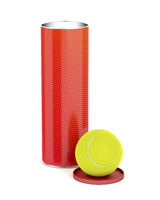 Can with tennis balls