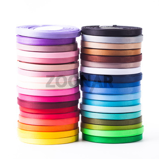 The ribbons bobbins isolated on the white