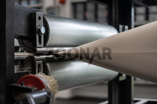 Paper Web Being Folded Funnel Pinching Rollers Newspaper Printing Production