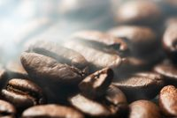 Heap of roasted coffee beans with smoke