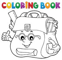 Coloring book happy schoolbag topic 2