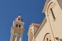 View on town hall and Saint Dionysios Church, Ionian Sea, Zakynthos island, Greece, Europe.