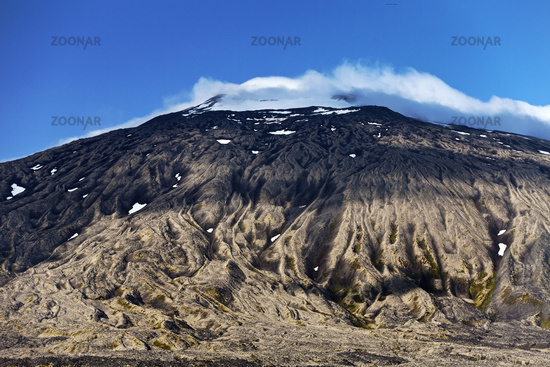 Volcano and glacier Snæfellsjökull with summit in clouds, Snæfellsnes, Iceland, Europe