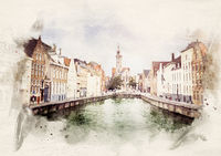 watercolor Bruges old Town