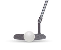 Front of Golf Club Putter With Golf Ball Isolated on a White Background