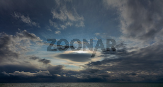 stormy sky over the winter sea
