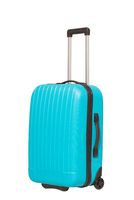 Blue travel suitcase isolated on white background.