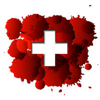 First aid cross on red blood splatter.