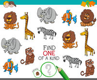 one of a kind game with cartoon wild animals