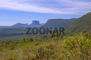 Chapada Diamantina National Park landscape in the Vale Do Capao valley, with the Morro Do Morrao mountain, Bahia, Brazil