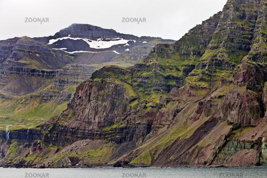 coastral scenery at the fjord, Seydisfjoerdur, East Iceland, Iceland