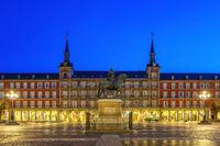 Madrid Spain, city skyline night at Plaza Mayor