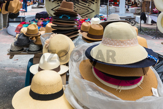 hats at the market of Otavalo